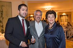 LACO guest artist Mahan Esfahani, LACO board member and host Ahmad Gramian and LACO à la carte chair and board member Mahnaz Newman