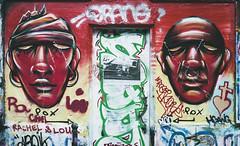 Rachel & Lou (johan masia) Tags: red portrait streetart paris france color colour art film painting rouge colore arte pentax k1000 kodak streetphotography graffitti graff rosso portra francia ritratto couleur parigi artderue photoderue portra160 artedistrada
