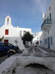 Calle tpica y otra iglesia. Chora. Isla de Mikonos. Grecia (escandio) Tags: grecia chora mikonos 2015 cicladas islademikonos