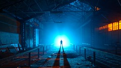 Ionization of light (palateth) Tags: blue portrait lightpainting backlight night industrial belgium belgique belgie smoke urbanexploration ig urbex lightart