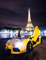 Aventador (Romain Lapeyre Photography) Tags: lamborghini aventador lp700 romainlapeyrephotography v12 italia effeiltower car nikon supercar paris parisbynight