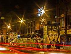 Night time Mr Bowie (PDKImages) Tags: lights longexposure manchesterstreetart manchesterart manchester cityscape artinthecity trails wall lightup bowie urban mural ghosts shadows ancoats ladies love alley alleyway streets