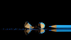 untitled (brescia, italy) (bloodybee) Tags: 365project pencil sharp stilllife blue black reflection mirror