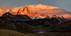 Mt Fitz Roy - Sunrise II 2 (cheryl strahl) Tags: southamerica argentina patagonia mtfitzroy sunrise clouds ngc elchalten losglaciaresnationalpark mountains peak range light