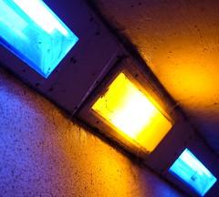(emjhendry) Tags: fujifilm xpro2 urbanlandscape evening night grimy streetphotography yellow blue colouredlights lights lighting tunnel underpass
