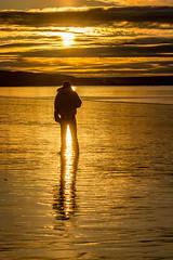 Walk Into The Light (James P. Mann) Tags: sunrise sunset golden hour dennis beach maritimes light silhouette reflections