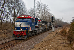 Veterans of Both Kinds (Wheelnrail) Tags: ns csx norfolk southern locomotive emd ge trains train railroad rail road railway ohio hamilton toledo subdivision cincinnati terminal grain freight depot old cloudy skies signals bo cpl color position light