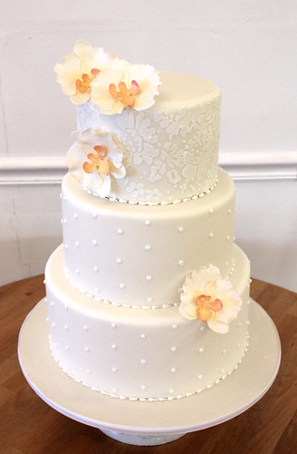 Traditional Wedding Cake with Sugar Orchids