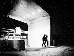 Tonight it is cold outside (René Mollet) Tags: fog foggy night nightshot blackandwhite bw monchrom monochromphotographie street streetphotography streetphotographiebw renémollet aarau shadow silhouette station sbb schwarzweiss snow cold