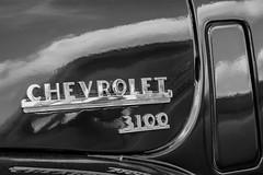 3100 (Shutter Photography & Hot Rod Images) Tags: 1949 chevy chevrolet truck pickup automobile blackandwhite bw mono monochrome outdoors canon50d bedfordva 3100 emblem chrome badges