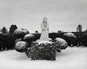 Jesus in the Snow, Portland (austin granger) Tags: jesus snow portland shrubs cemetery winter cold statuary religion christianity quiet hedge death statue film largeformat chamonix