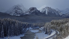 Canadian Pacific Railway (Jeff Goddard 32) Tags: canada canadianrockies december snow banffnationalpark bowvalleyparkway bowriver
