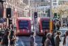Sydney Light Rail Flashbacks - LRVs 2108 and 2109 pass in Hay Street (john cowper) Tags: sydneylightrail flashbacks haystreet urbos2 lrv2108 lrv2109 sydneypublictransport sydney haymarket newsouthwales
