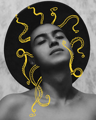 Kraken. (Ivan Contreras C.) Tags: photo photography ilustration ilustracion draw drawing dibujo trazo yellow amarillo linea line man portrait retrato design diseño tattoo hombre chico guy model octopus pulpo kraken