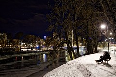 2 Guys share a Bench (John Andersen (JPAndersen images)) Tags: 2017 bench calgary city cold january night sculpture skyline snow stgeorgesisland towers winter