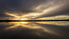 Formation of clouds (hjuengst) Tags: symmetry bavaria clouds sunset reflection sunrays lake warm lastlight orange sun lakestarnberg stheinrich