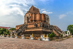 Wat Chedi Luang at Chiangmai, Thailand (Anoop Negi) Tags: wat chedi luang thailand chiangmai monument buddhist buddhism stupa temple ruins unesco restoration elephants nagas brick travels travel photography anoop negi ezee123 photo tourism