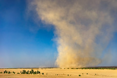 Sand storm in the Danakil Depression (departing(YYZ)) Tags: africa travel blue sky nature yellow zeiss 35mm landscape sand desert wind sony dry sandstorm drought fe ethiopia alpha tornado a7 danakildepression sonnartfe35mmf28za
