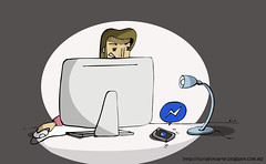 lios de redes (Nuria Domnguez) Tags: woman man color verde mujer drawing ordenador dibujo ilustration gripe robo hombres facebook vacuna separacin nuriadomnguez ilustracindigitalilustracinilustracinperiodstica ilustracinperiodsitica