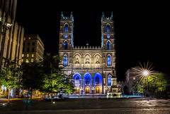 Across the Place d'Arms (jeff_a_goldberg) Tags: ca canada night catholic montréal cathedral montreal québec hdr notredamebasilica placedarmes notredamebasilicaofmontreal paulchomedeydemaisonneuve maisonneuvemonument