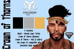 Crown of Thorns - Resizer + Hud (Lito Titanium) Tags: street boy man male men tattoo blog outfit big play post mesh body avatar smith bull class sl enzo normal titanium unisex exclusive homme aesthetic accesory ccv applier niramyth