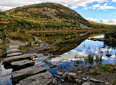 Stepping Stones (Shutterscript) Tags: park autumn trees mountains fall nature water bar reflections landscape harbor us pond unitedstates hiking path stones maine national acadia barharbor acadianationalpark