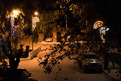 (Psinthos.Net) Tags: road trees winter leaves car night spring december nightlights cross pavement chapel sidewalk treebranches paved eucalypts christmasornaments planetree saintnicolas leavs  agiosnikolaos   vrisi   agiosnikolas psinthos                       vrisiarea  vrisipsinthos