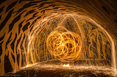 DSC_8779 (andrzejpor) Tags: longexposure light lightpainting wool blackbackground ball painting globe nikon media outdoor steel orb led dslr sparks steelwool steelwire anawesomeshot nikonflickaward d5100 iamnikon steelwoolburning nikond5100
