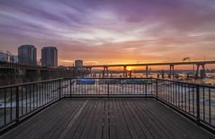 Sunrise from the Overlook (Joey Wharton) Tags: sky sun clouds sunrise landscape virginia cityscape richmond walkway va overlook rva