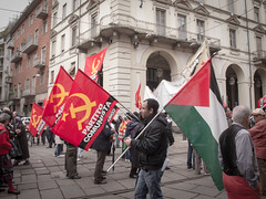 Left-wing nationalism. Torino, May Day 2012. (joelschalit) Tags: italy torino israel war europe palestine refugees middleeast arab left turin immigration europeanunion multiculturalism partitocomunista