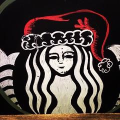 Christmas at Starbucks (booboo_babies) Tags: christmas coffee square lofi starbucks squareformat chalkboard blackboard chalkart iphoneography instagramapp uploaded:by=instagram