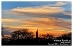 All rights reserved Collette Rawlinson (Collette Rawlinson) Tags: liverpool england merseyside uk sunset church spire sky blue orange tree outdoors fire winter december 2016
