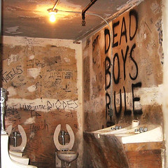 CBGB Restroom, 1970s in Exh: PUNK Chaos to Couture at Metropolitan Museum, 2013. Photo: Lee Yee (Lee Yee Photography) Tags: newyork streetphotography metropolitanmuseum icp moma graffiti punkfashion cbgb deadboys punkrock sexpistols sidvicious viviennewestwood leeyeephotography