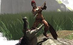 killing the beast ... (Larah Sa'fir) Tags: amazon huntress sexy beast crocodile spear fight