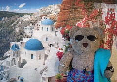 Wish I wuz there! (pefkosmad) Tags: jigsaw puzzle hobby leisure pastime santorini greece village blue white island photo photograph 1000pieces complete used tedricstudmuffin teddy ted bear cute soft toy stuffed plush fluffy
