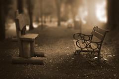Vis a vis (Jarek Jahl) Tags: monochrome 7dwf sepia sokołowsko lowersilesia poland park bench fog mist visavis visàvis conversation