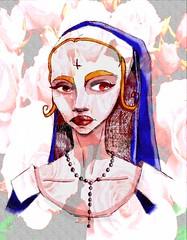 Mala Rosas. (Niluna nisol) Tags: mujer monja women nun bad mala color digital dibujo drawing ilustración illustration lapicera pen art arte niluna nisol