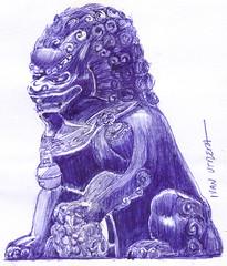 perro fu a lapicero (ivanutrera) Tags: perro draw dibujo drawing dibujoalapicero boligrafo sketch sketching pen lapicero perrofu drawballpointpen ilustracion dibujoaboligrafo