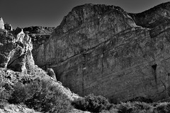Towering Peaks of the Boquillas Canyon and Sierra del Carmen (Black & White, Big Bend National Park)