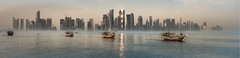 Panoramic Doha West Bay (LensReady) Tags: sea saltwater doha middleeast baywalk water seascape city urban archtecture modern vintage old new telephoto photo stitch merge