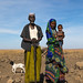 Issa tribe man with his wife and child, Afar region, Yangudi Rassa National Park, Ethiopia