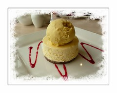 Naughty but it was certainly NICE! (Audrey A Jackson) Tags: panasonicdmctz3 westwardho devon pierhouserestuarant dessert icecream cheesecake sauce red calories delicious 1001nightsmagiccity