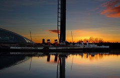 Clyde Steamers at Sunset (HDR) (Fraser Murdoch) Tags: ps waverley ts queen mary steamer river clyde glasgow science centre tower sunset hdr high dynamic range shadow canon eos 650d fraser murdoch shipping clydebuilt boat vessel berth berthed scotland winter
