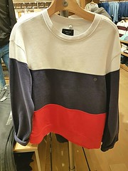 Irony in clothing (walneylad) Tags: americaneagle russianflag shirt sweater clothing retail store humour irony humor red blue white parkroyal westvancouver britishcolumbia canada shop funny putin trump ironic