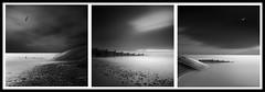 Cleveleys Triptych (paulantony2) Tags: blackandwhite longexposure coast sea groyne fineart lee bigstopper fylde lancashire seafront seaside darkskies steps defences nikon d7100