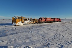 Morning Gold Spreader - Max, ND (MinnKota Railfan) Tags: spreader jordan train canadian pacific railway max north dakota snow snowplow moving equipment