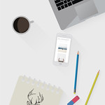 Working place in flat design. Constructor of your own work space. Blogoodf illustration