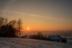 Winter Sunset (Sandra Hieber) Tags: sunset sun sky clouds light trees beautiful winter snow landscapes white sonnenuntergang sonne himmel licht bäume schnee landschaft weis