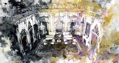 Palace of Light and Shadow X (baoling) Tags: art painting linbaoling interior goldfoil palace chandelier lightanddark acrylic miniture 林葆靈 繪畫 藝術 金箔 fluidity