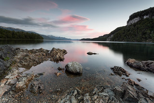 Sunset in Villa La Angostura in the Andes Mountains. North of Patagonia.